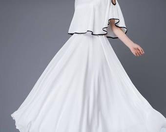 chiffon dress, wedding dress, white dress, Cape dress, maxi dress, dress, capelet dress, fairy dress,fit and flare dress, prom dress C874