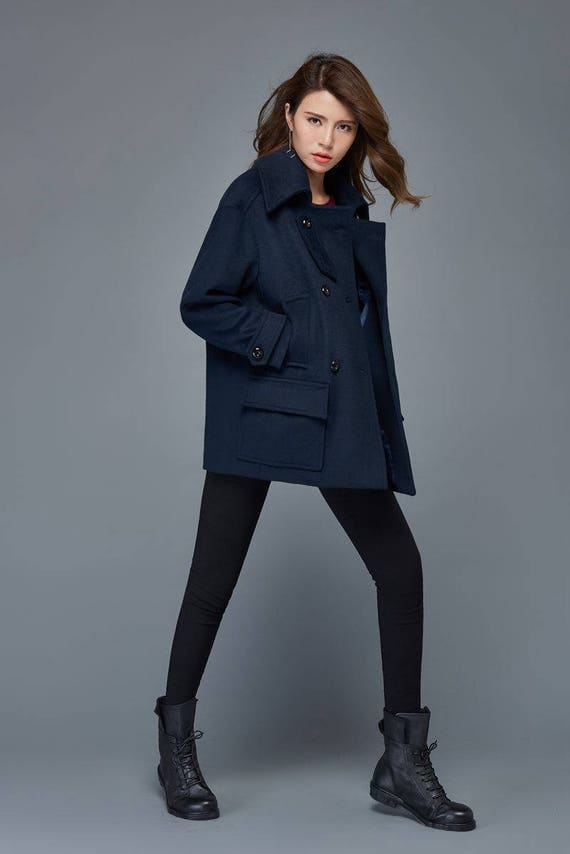 Short coat wool coat navy blue coat winter jacket women