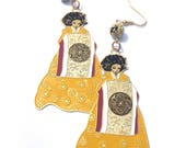 Traditional Korean Lady Earrings, Hanbok Earrings, Bookmark Earrings, Statement Earrings