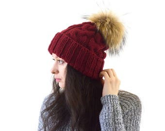 Double Brim Knit Slouchy Hat with Large Fur Pom Pom | The Winona