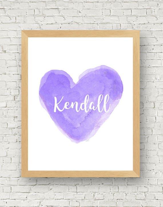 Personalized Purple Nursery Print, 11x14