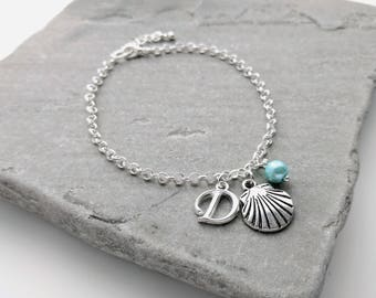 Shell Bracelet, Bridesmaid Gift, Bridesmaid Shell Jewellery, Bridesmaid Bracelet, Shell Charm Bracelet, Beach Jewellery, Beach Wedding