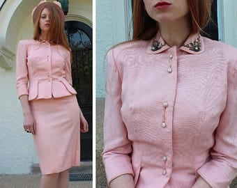 60s Pink Suit Vintage Women's 2 Piece DRESS SUIT Beaded Jacket Sweetheart Neck Shell HOURGLASS Silhouette Small Size Midi Spring Weddings