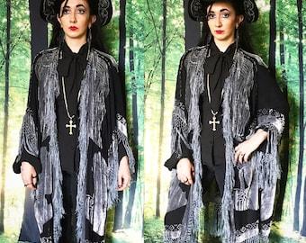 1970s Stevie Nicks Burnout Velvet Tribal Black and Gray Fringe Kimono