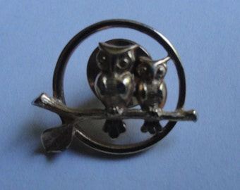 Vintage Silver Two 2 Owls Brooch Pin