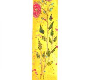 Bookmark handmade drawing flowers.