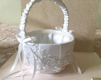 Flower Girl Basket,Wedding Basket,White Flower Girl Basket,White Lace wedding Basket