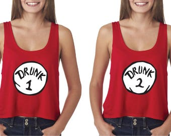 Drunk 1 and Drunk 2 Red Tank Top. Boxy Crop Top Shirt