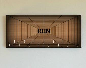 "Race Medal Holder /  Race Medal Hanger. ""RUN"" Geometric Web. Wood Wall Mounted Wood Organizer. CUSTOMIZATION Available"