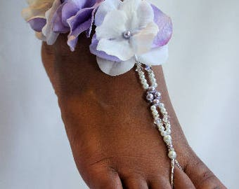 Pearl Wedding Foot Jewelry Barefoot Sandal Foot Thong Beach Wedding Sandles Beach Wedding Shoes
