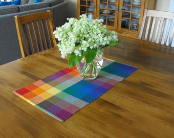 Rainbow Plaid Runner, Handwoven Table Runner Hand Woven, Plaid Table Runner Rainbow, Kitchen Table Runner, Table Centerpiece Spring Runner