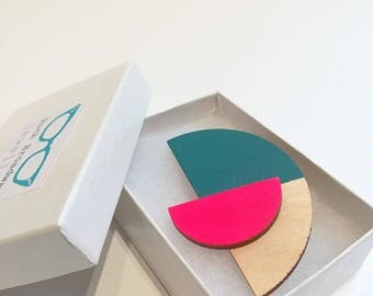 SATELLITE brooch, hand painted wood, teal, neon pink and natural wood