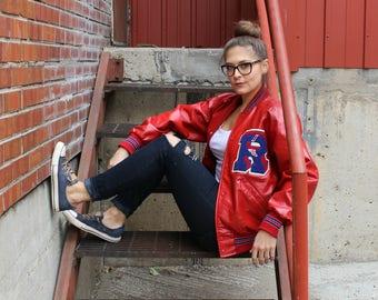 Vintage Red and Blue School Track Letterman Jacket