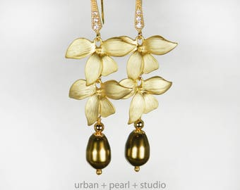 Gold Orchid Flower Bridal Earrings Matte Gold Long Pearl Drops Swarovski Pearls