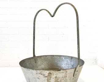 Large Vintage Metal Hanging Scale Basket Antique General Store Display