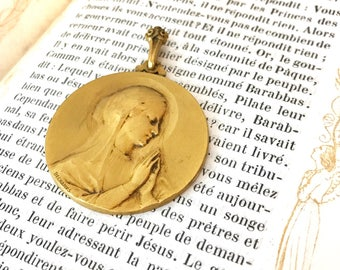 Our Lady - Blessed Mother - Real Antique French Medal - French Medal - Religious Medal - Virgin Mary - Blessed Mother - Signed