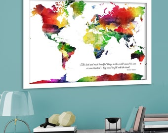 The places shell go world map print pink and gold world helen keller quote world map with personalised message map print with quote colourful gumiabroncs Images