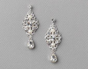 Silver Rhinestone Filigree Earrings, Bridal Dangle Earrings, Wedding Earrings, Bridal Accessories, Rhinestone Jewelry, Wedding ~JE-4077