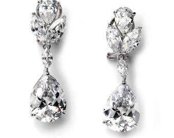 Floral Silver Wedding Earrings, CZ Silver Bridal Earrings, Wedding Earrings, Floral Earrings, Rhinestone Earrings, Floral Jewelry ~JE-1190