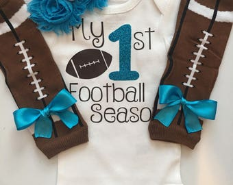 Baby Girl outfit -My 1st Football Season- baby girl outfit - football legwarmers -Newborn Football outfit -Preemie-24 month- AQUA /Turquoise