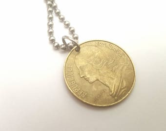 1976 French Coin Necklace with - Stainless Steel Ball Chain or Key-chain