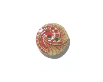 Red Rustic Paisley Button, (1) Two Hole Button, Sewing Supplies, Bracelet Button, Scarf Button, Stoneware, Knitting Button, Focal Button
