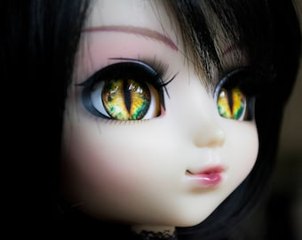 12, 13 & 14mm Glass Realistic Yellow Vampire/Cat/Dragon Eyechips for Pullip Blythe Taeyang Dal Isul - handmade Eye Chips
