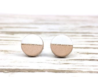 White and Gold Stud Earrings, Leather Earrings for Women, Minimalist Earrings, Stainless Steel Studs, Sterling Silver Studs