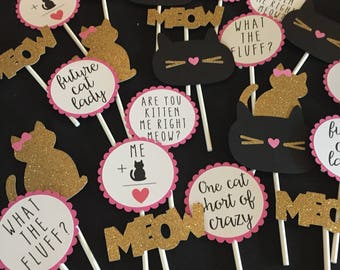 Kitty Cupcake Toppers, Set of 8