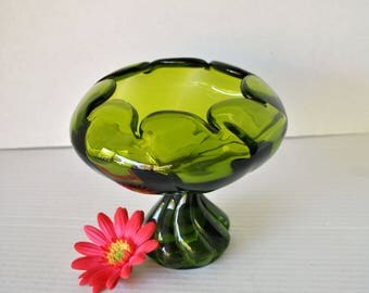 Vintage Viking Art Glass Epic Twist Footed Closed Bowl Candy Dish Compote, Green #1520 Mid Century Viking Art Glass 1960s