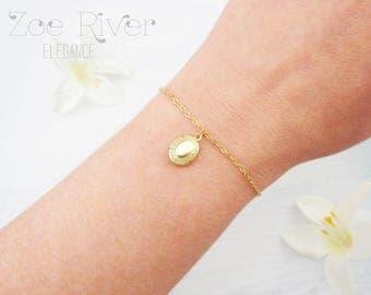 Tiny gold locket bracelet, dainty gold locket bracelet