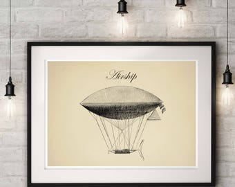 Steampunk Airship, Dirigible Airship, Industrial Print, Wall Art Poster, Airship Decor Antique Print, Air balloon Decor, Blueprint