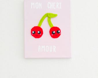 Mon Cheri Amour Crochet Painting, Wall Art, Home Decor