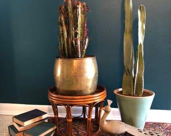 vintage rattan plant stand foot stool ottoman boho decor bentwood