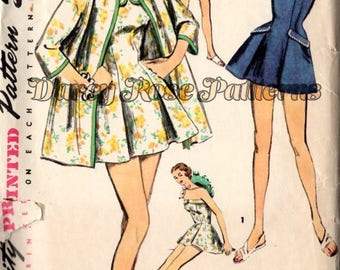 Vintage Swimsuit Sewing Pattern Simplicity 1607 Misses' One Piece and Jacket Sewing Pattern