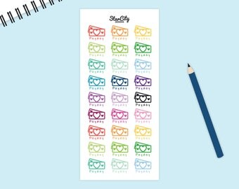 Payday Planner Stickers, Heart Payday, bullet journal stickers, Pay Day Sticker, Money Stickers, Finance Stickers, BUJO