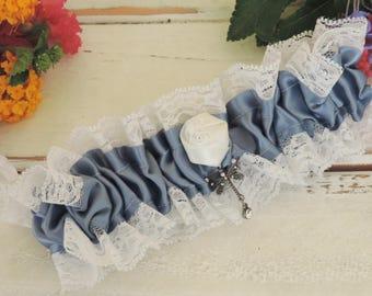 Garter for wedding prom garter dusty blue white lace garter something blue wedding accessories throw garter keepsake garter dragonfly charm