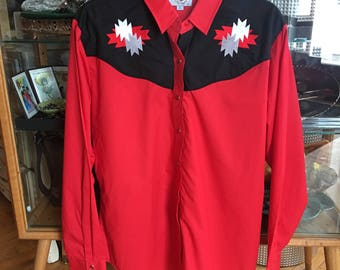 Vintage Ely Red and Black Western Shirt pearlized Red Snaps