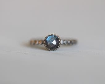 Labradorite Ring, 6mm, Rose Cut, Flashy Blue, AAA, Beaded, Dotted, Stacking Ring, Bezel Set, Sterling Silver, Solitaire Ring, Mossy Creek