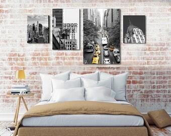 Set of 4 prints New York decor Tudor city/large canvas art/NYC prints/headboard bedroom decor/New York prints/girl room decor/large wall art