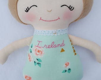 Soft doll, modern rag doll, mint, cream, pink, and gold, Easter baby gift, baby's first doll, pink and gold nursery