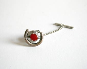 Sterling Coral Horseshoe Tie Clip