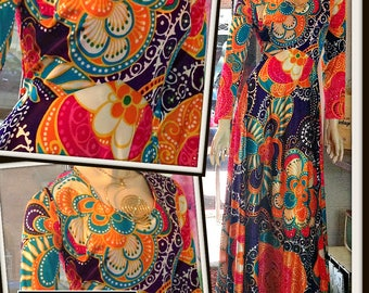 Vintage Multi Color Bright Pop Print Long Maxi Dress FREE SHIPPING