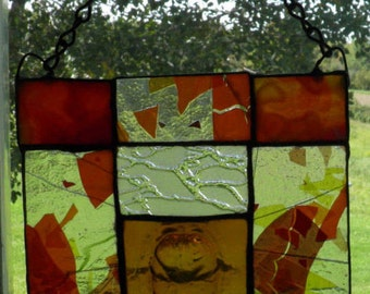 Fall Colored Stained Glass Masque Mosaic Panel