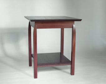 Almost Square Side Table: Handmade Wood End Table With Shelf, Occasional  Table, Accent