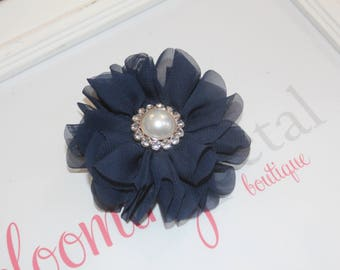 Navy Large Chiffon Flower Clip with Pearl Button