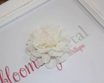 Ivory Eyelet Flower Hair Clips