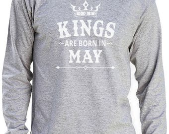 KINGS Are Born In May - Men's Birthday Gift Long Sleeve T-Shirt