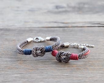 Love knot bracelet, Tie the knot bracelet, Couple bracelet, His and Her bracelet,Valentines gift, couple jewelry, matching bracelet,Set of 2