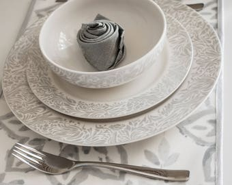 NEW !! Place mats set of 4; Oilcloth placemats; Tableware placemats; Gray white silver bias tape placemats;